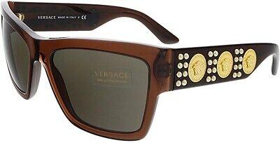 VERSACE VE4289 513073 Transparent Brown Brown 58 mm Men's Sunglasses