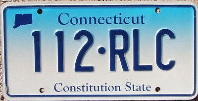 CONNECTICUT Blue Fade License Plate Constitution State - Random Letters -  CT