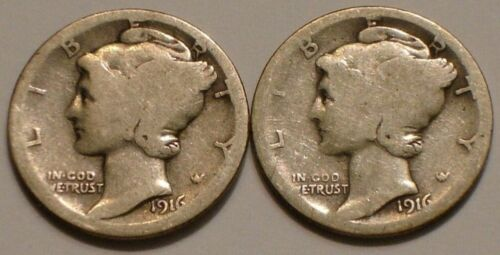 1916 P & S  Set of two Mercury Dimes  90% Silver Good, Avg Circulated