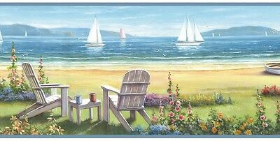 Seaside Cottage Wallpaper Border - Adirondack Chairs - Sailboats - Coastal/Beach