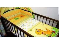 Baby cot with mattress and bedding set