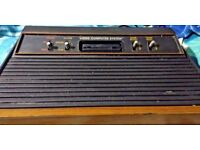 Atari 2600 woody console with games etc