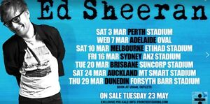 Ed Sheeran Melbourne concert Monday 12th of March Melbourne CBD Melbourne City Preview
