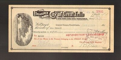 Bank Check  City Of Great Falls Cascade County Montana Dd 1914