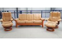 Ekornes Stressless 3 seater settee & 2 recliner chairs and 2 foot stools
