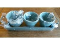 *New Set x 3 Duck Egg Blue Enamel Herb Pots On Tray: 'Garden Trading' Kitchen Accessories/ Garden