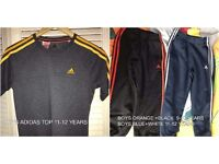 BOYS ADIDAS TOP 11-12 YEARS / TRACKSUIT BOTTOMS 9-10 YEARS BLUE AND WHITE 11-12