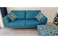 3 seater sofa, love chair and footstool