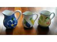 NEW LARGE JUGS 3 HAND PAINTED ITALIAN FLORAL DESIGN Tableware Trio Set Cafe B&B Bistro Collectors