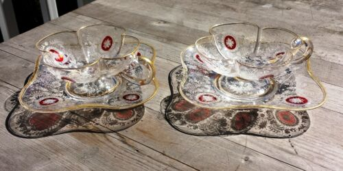 Stunning Pair Antique Etched 4-Leaf Clover Bohemian Glass Cups & Saucers -Moser?