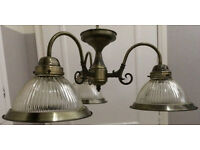 Antique brass ceiling downlights - 2 identical lights for sale