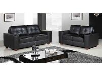 BLACK OR BROWN LEATHER BRAND NEW SOFA SET 3+2 FREE DELIVERY