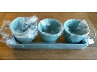 *New Set x 3 Duck Egg Blue Enamel Herb Pots On Tray: 'Garden Trading' Kitchen Accessories
