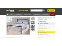 Bed, King Size, Chrome and Nickel Bed Frame