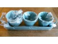 3 NEW GARDEN HERB POTS & TRAY Duck Egg Blue Enamel GARDEN TRADING Kitchen Accessory Set Green House
