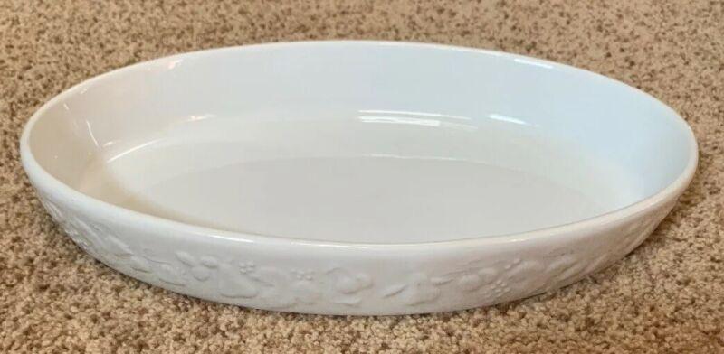 Philippe Deshoulieres Oval Baking Dish White Blanc Fruit Edge Porcelaine France