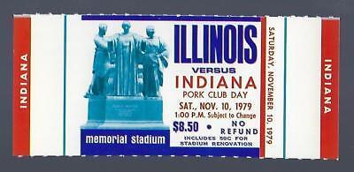 1979 NCAA INDIANA HOOSIERS @ ILLINOIS ILLINI FULL UNUSED FOOTBALL TICKET