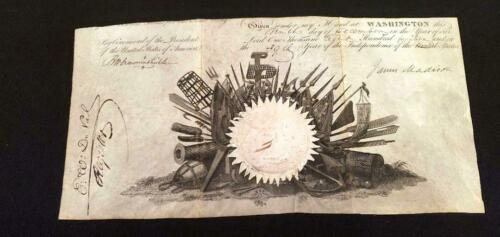 President James Madison Signed Partial U. S. Naval Commission, 1814 - 13 x 6 1/2