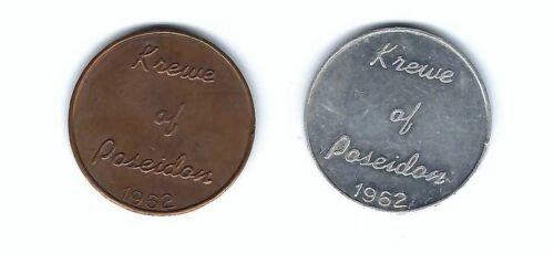 1962 KREWE OF POSEIDON MARDI GRAS BRASS & ALUMINUM DOUBLOON COINS FIRST YEAR