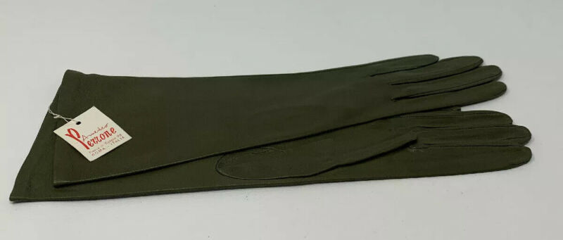 """Amedeo Perrone 11.5"""" Leather Ladies Gloves Olive Green NOS Italy Size 6 19-1402W"""