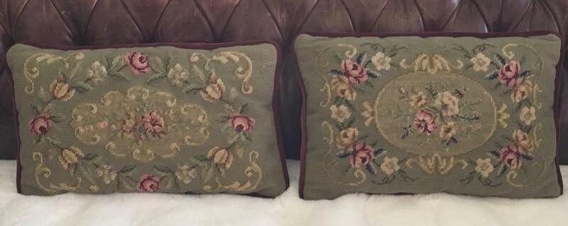 Set  2 Antique Victorian Needlepoint throw seat Pillows PETIT POINT wool velvet