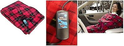 Heated Fleece Travel Electric Blanket 12 Volt Red Plaid, For Warmth In The Car