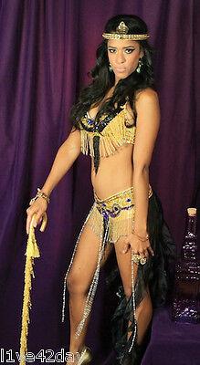 Queen Cleopatra Deluxe Costume Bra Sexy Egyptian S M L Halloween Beaded Gold Hot - Queen Cleopatra Halloween Costumes