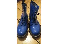 Bright blue Doc Martens boots men's size 9 vgc collect only Hove punk rock goth emo skinhead alt