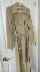 tan ultrasuede light weight maxi coat.  Size 2-4.