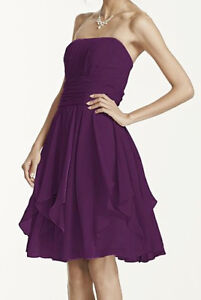 David's Bridal Plum Chiffon Bridesmaid Dress With Tag Size 10