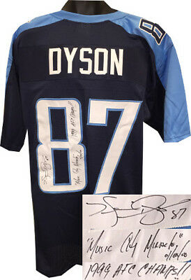 Kevin Dyson signed Navy Pro Style Jersey Music City Miracle/1/8/00/Champs!! XL