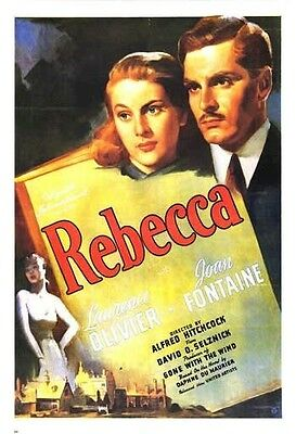 REBECCA ~ BOOK 26x38 MOVIE POSTER Laurence Olivier Alfred Hitchcock NEW/ROLLED!