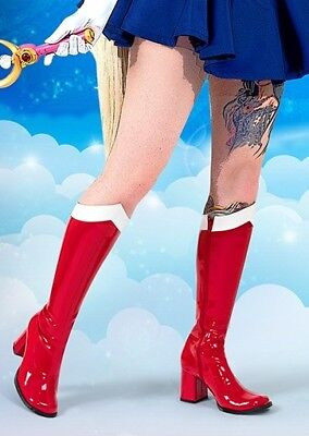 Red White Sailor Moon Mars Manga Cosplay Convention Costume Knee Boots Womans](Costume White Boots)