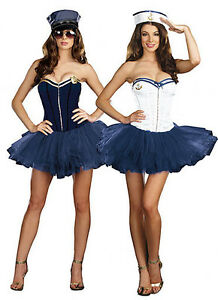Ladies Woman Sailor Naval Pilot Air Hostess Uniform Fancy Dress Costume