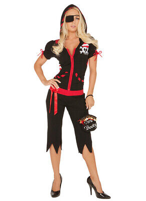 Elegant Moments 5 PC Black/Red Pirate's Booty Costume - Size Large UK 12-14