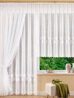 Fertiggardine Hochwertige Plauener Spitze Store Blumenfenster Weiß Stickerei