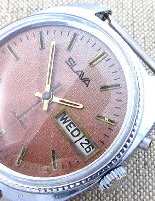 SLAVA CALIFORNIA BROWN CHEQUER Vintage 70s Soviet Russian Mens Mechanical watch