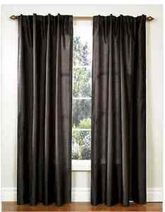 Two 95 inch Dark Brown Faux Silk Lined Curtain Drape Panels
