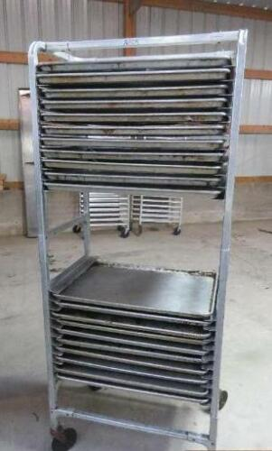 Aluminum Full Size Side Load 20 Shelf Sheet Pan Rack Cart 10 bun tier baking