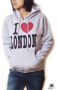 I-Love-London-Hoodie-Sweatshirt-Grey-for-Women-Teenager-size-XS-to-XL