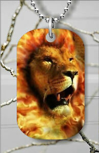 BRAND NEW FLAMING LION DOG TAG NECKLACE