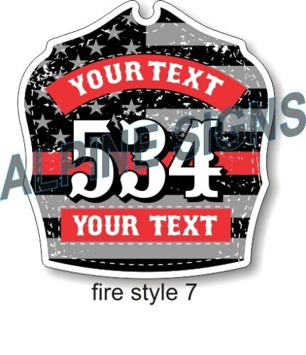 Fire Helmet Shield sticker - Thin Red Line - Style 7 - Custom just for You!