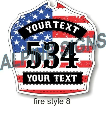 "Fire Helmet Shield sticker - Style 8 - Custom just for You! 3.7""x4"""