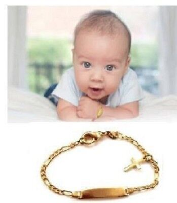 (Baby no Personalized 14K gold overly id Bracelet with cross charm christening)