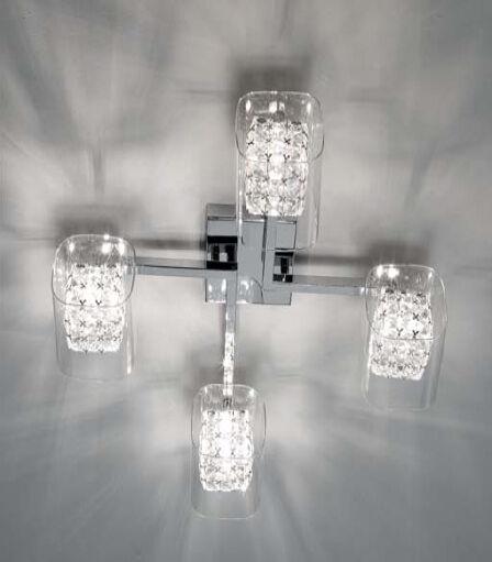 PLAFONIERA DA SOFFITTO MODERNA lampada in cristallo e vetro 4 luci