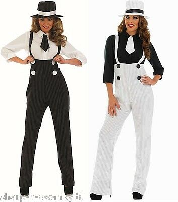 Ladies 1920s Pinstriped Gangster Trousers Fancy Dress Costume Outfit & Plus Size (1920 Gangster Outfit)