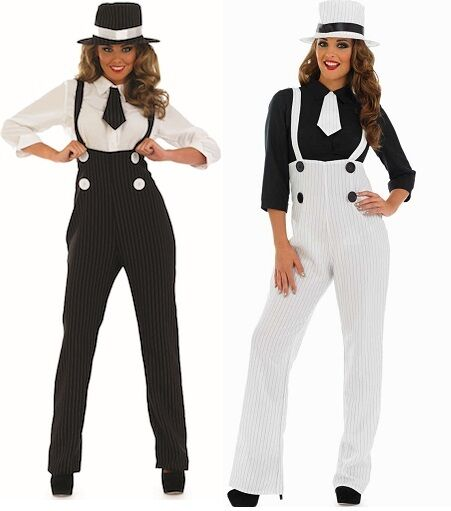 Ladies 1920s Pinstriped Gangster Trousers Fancy Dress Costume Outfit