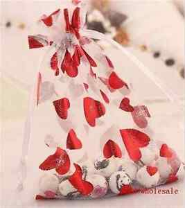 10-100pc Organza Transparent Jewelry Pouch For Wedding Gift Candy Bags 10x12cm