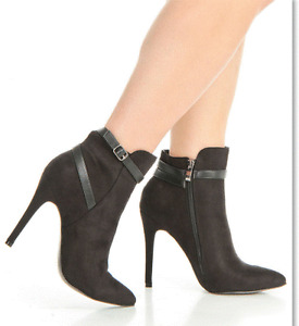 Brand New in Box-Faux Suede Stiletto Booties in Black