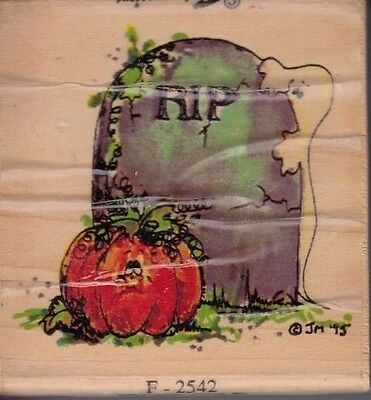 2 Halloween Headstones (Halloween RIP Headstone stampressions Wood Mounted Rubber Stamp 2 1/2 x 2 1/2